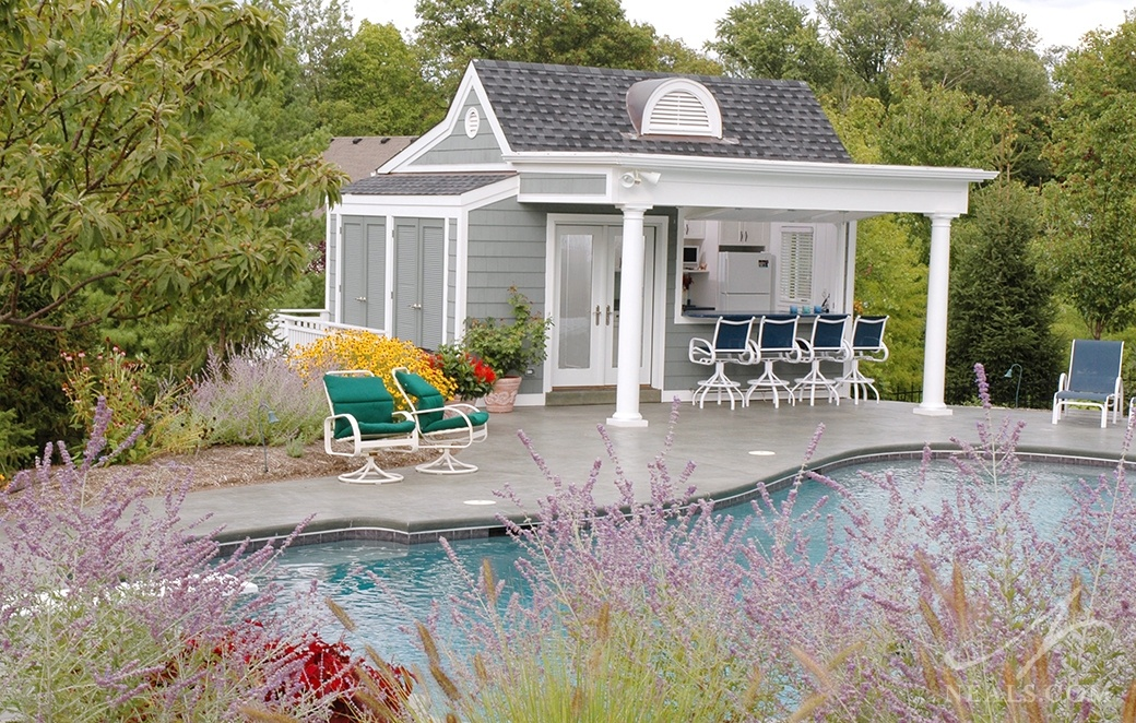 A cabana with a kitchenette is a great compliment for an active pool.