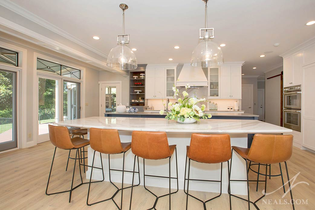 seating island in transitional kitchen