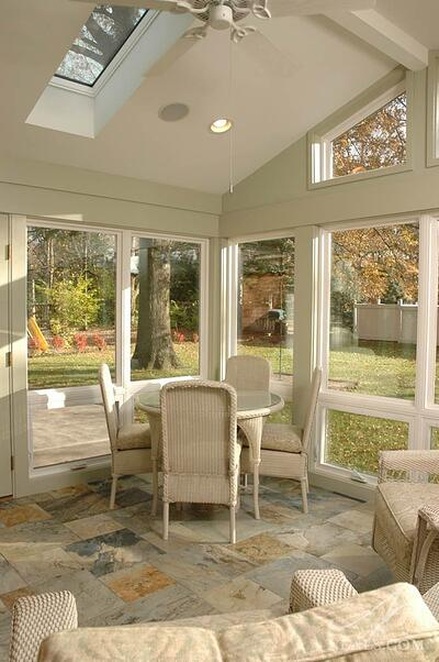 41047Recessed can lights positioned around the skylights in this Montgomery sunroom help when the sun goes down.