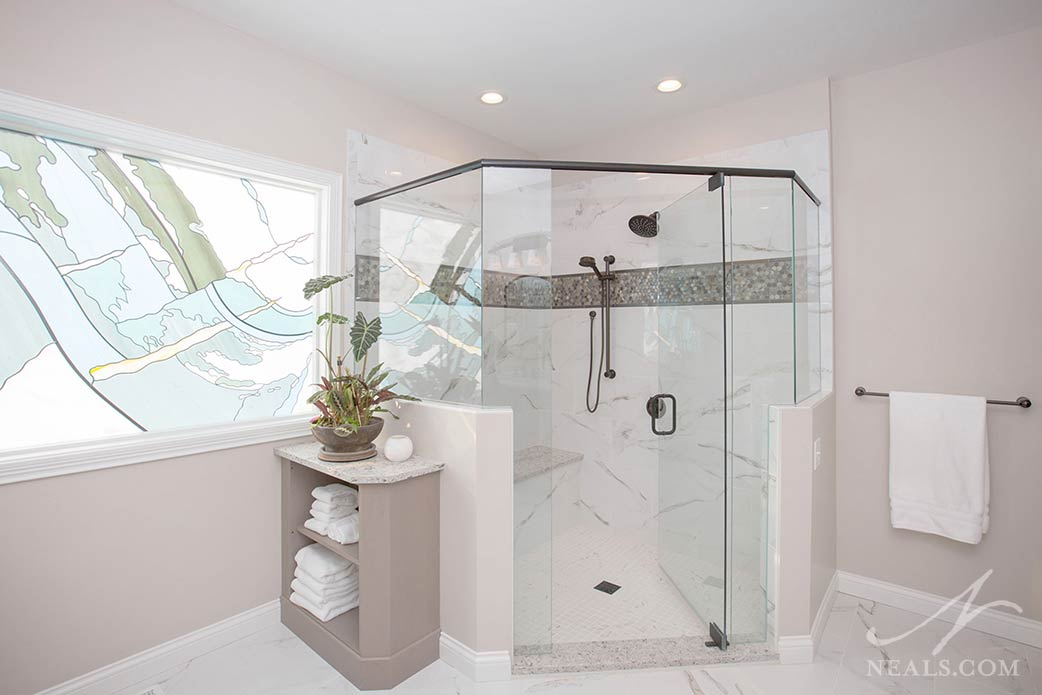 corner walk-in shower