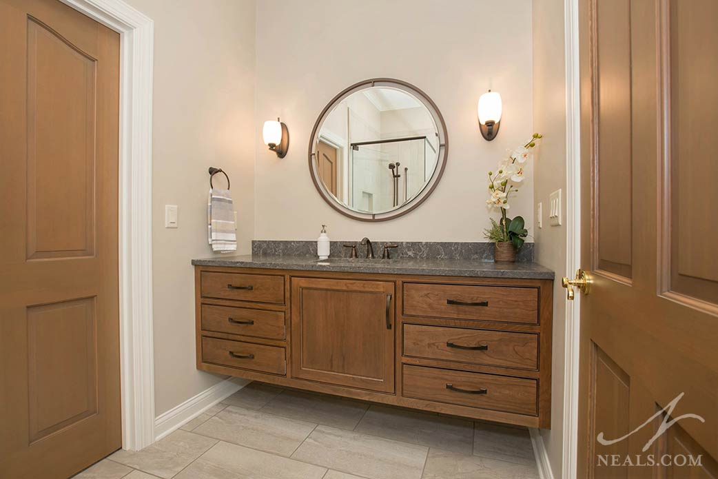 Floating vanity in a traditional guest bathroom in Southeast Indiana.