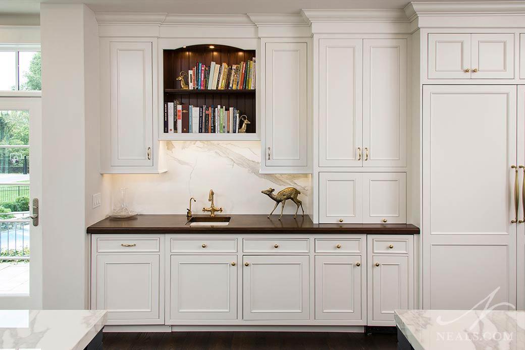 kitchen with slab stone backsplash