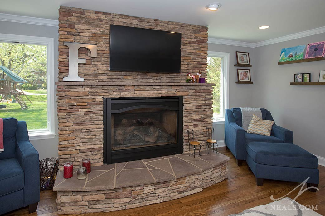 Fireplace in a Montgomery remodel