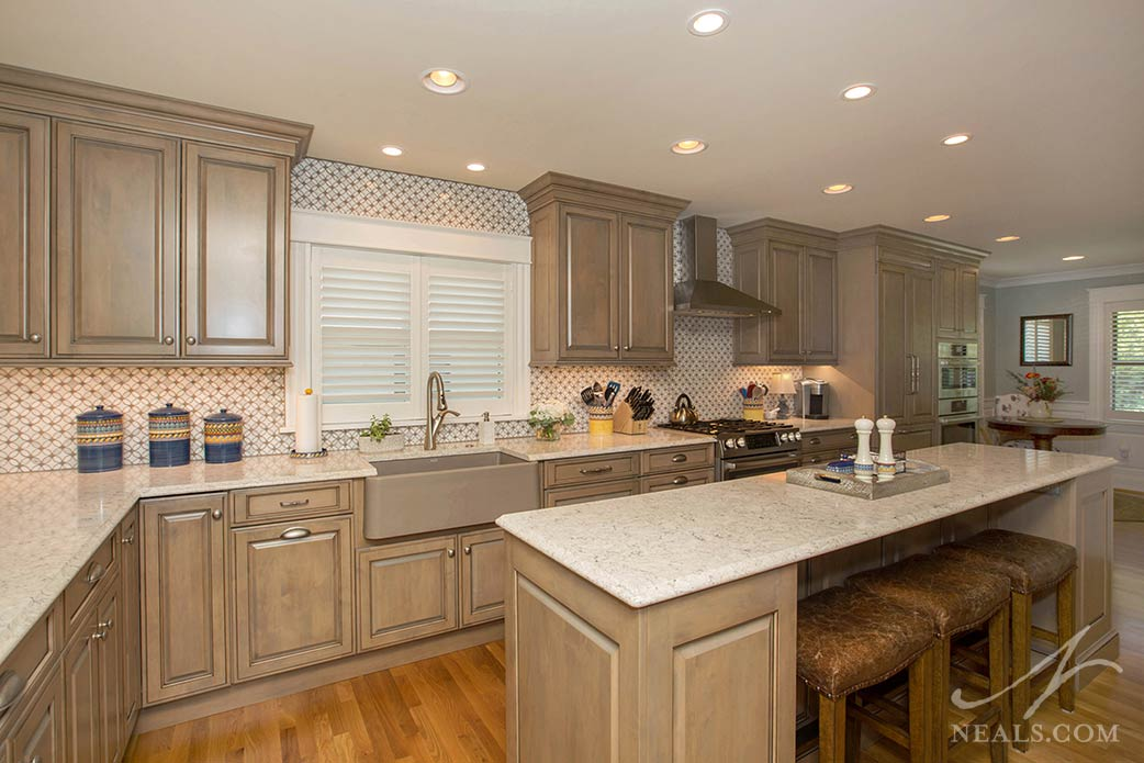 kitchen with warm wood cabinetry