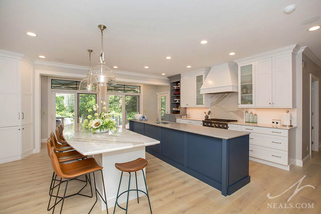 kitchen with double islands