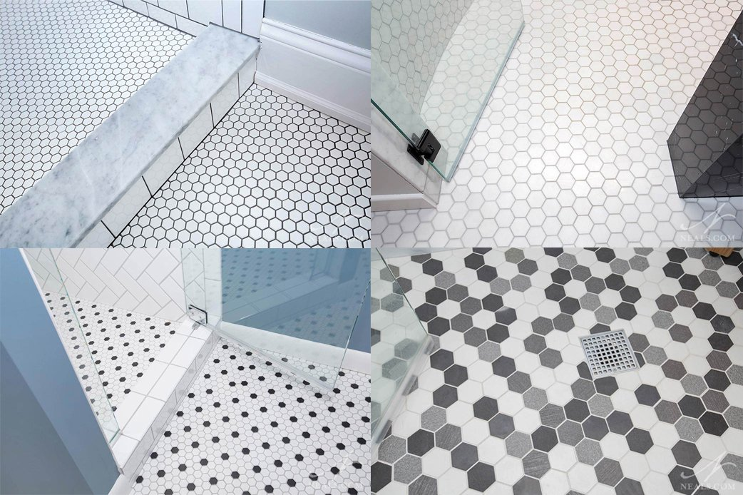A selection of hexagon floor tiles from our bathroom remodels.